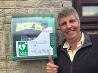 Man with defibrillator