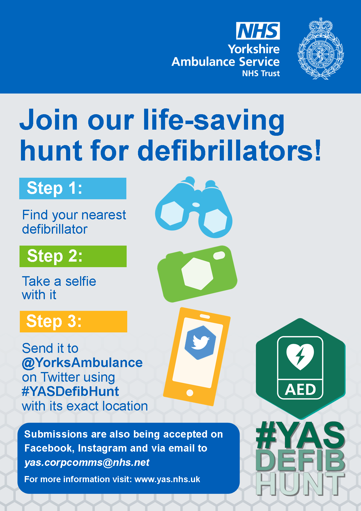 YAS Defib Hunt A4 poster