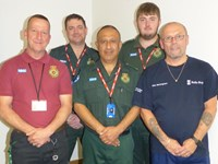 Patient John Beckingham meets the Community First Responder and ambulance crew who saved his life